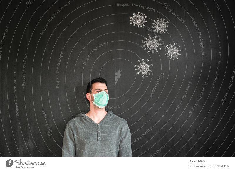Corona Mann mit Atemschutzmaske coronavirus Virus Mundschutz Krankheit Coronavirus Gesundheit Pandemie Schutz Ansteckend Seuche Quarantäne COVID Infektion
