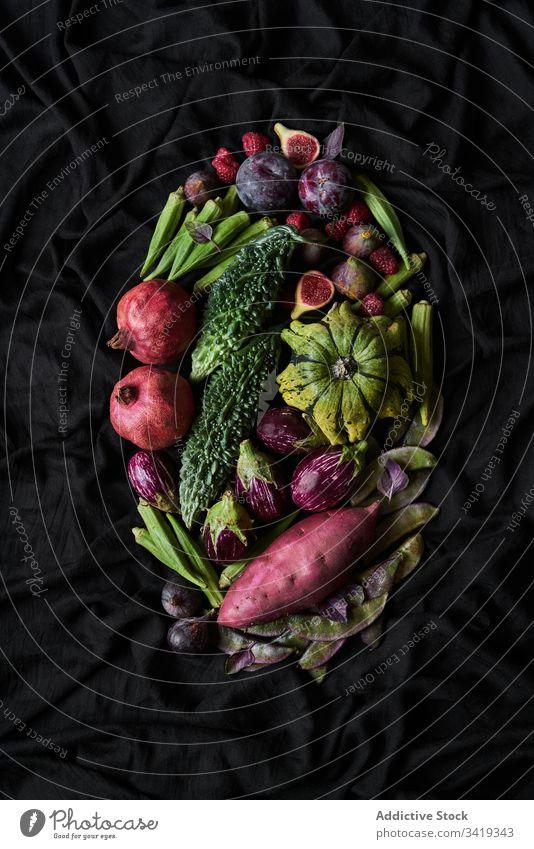 Exotische Früchte und Gemüse im Korb Lebensmittel Frucht exotisch frisch natürlich Gesundheit organisch Vegetarier gesunde Ernährung roh reif Vitamin Diät grün