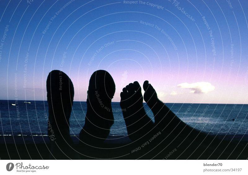 Feierabend Sonnenuntergang schemenhaft Verlauf Meer Wasserfahrzeug Strand Ferien & Urlaub & Reisen Fuerteventura Kanaren Siesta Europa Abend Schatten Himmel