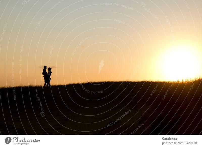 Die Sonne geht am Horizont  unter, links die Silhouette eines sich umarmenden Paares Sonnenuntergang Dämmerung Abend Wolken Himmel Abenddämmerung Natur