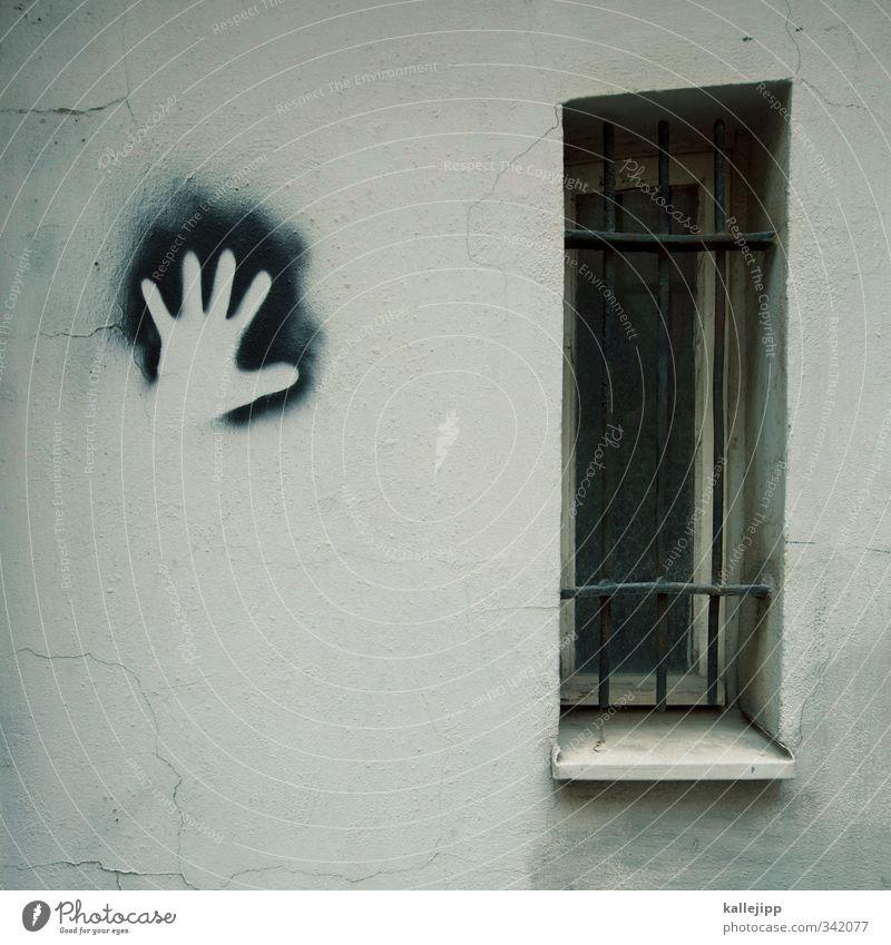 die weisse hand Hand Fenster Graffiti Fassade Gitter Identität Dieb Spray Abdruck