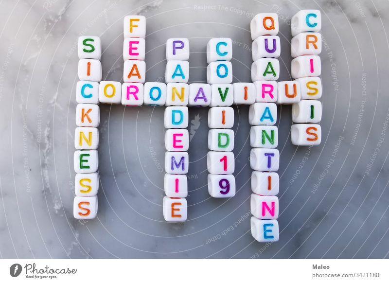 Coronavirus-Würfel-Kreuzworträtsel. Kreuzworträtsel zum Thema Coronavirus China Korona Krankheit Seuche Grippe Geduldsspiel Text Virus Wort Biogefährdung Gefahr
