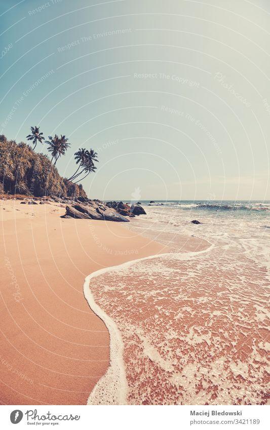 Tropenstrand, Farbkontrast aufgetragen. Strand MEER Sommer Wasser reisen Natur Meer retro Handfläche gefiltert altehrwürdig Instagrammeffekt Urlaub Himmel Insel