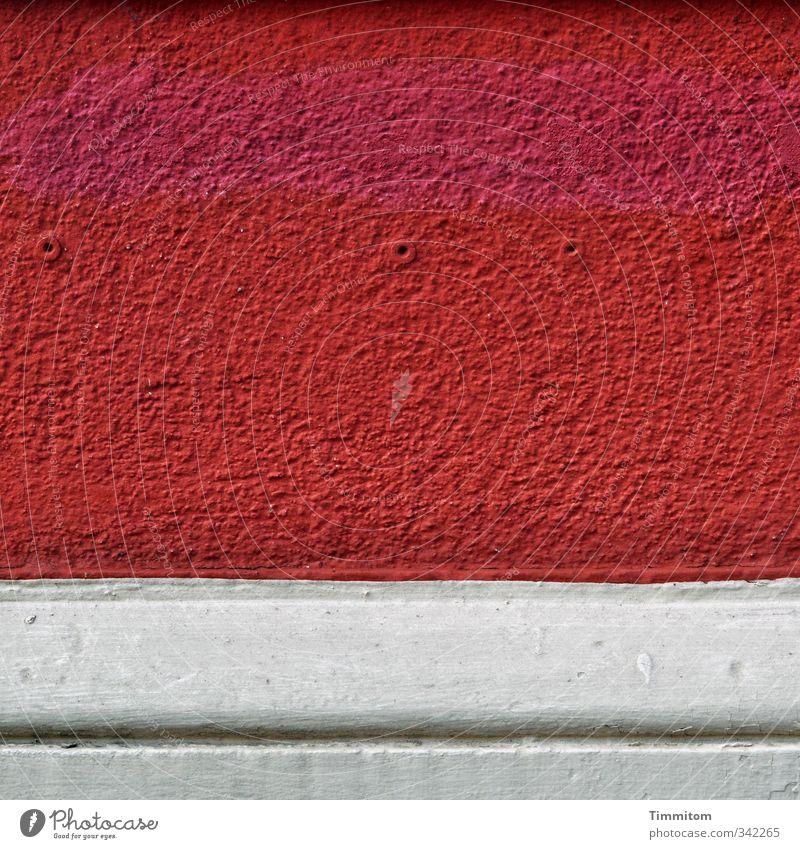 It's all good. weiß rot Haus Wand Gefühle Farbstoff Mauer Stein Linie ästhetisch einfach Loch Putz Leiste