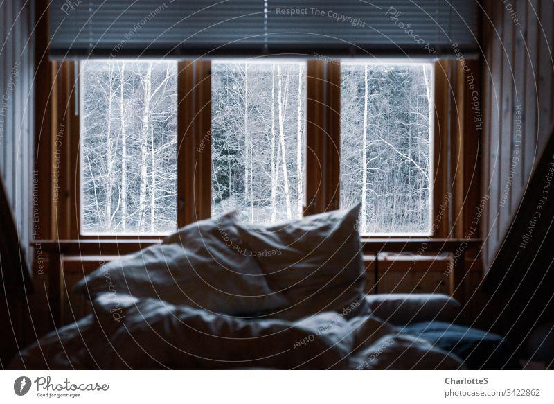 Ein leeres Bett mit zerknautschtem Bettzeug im Holzhaus vor dem Fenster. Draußen schneebedeckte Birken. Schnee Winter Wald Nebel Hütte Sonntag Morgen Jalousie