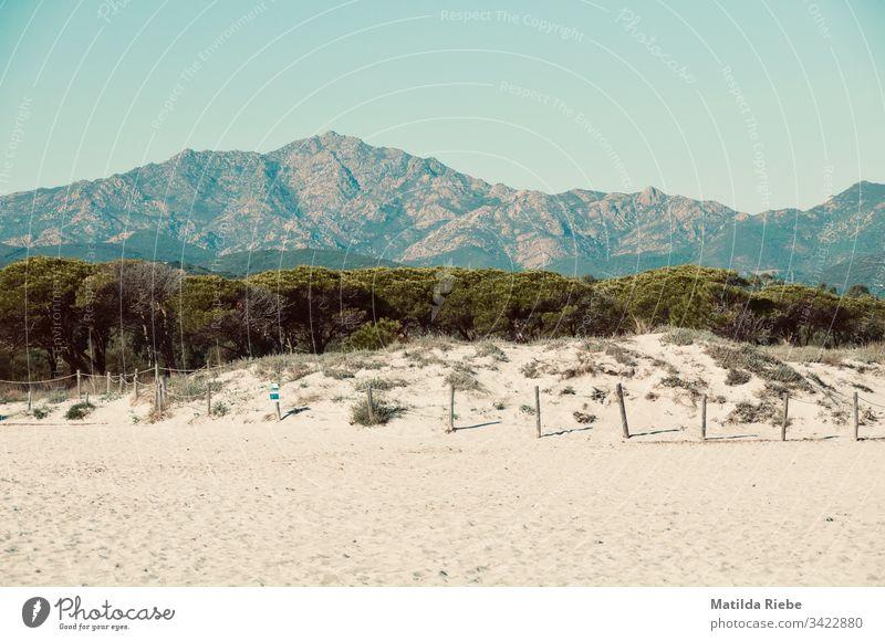 Strand mit Berglandschaft im Hintergrund Sand Berge u. Gebirge Landschaft Bäume Himmel Natur Ferien & Urlaub & Reisen Wolkenloser Himmel Sommer Schönes Wetter