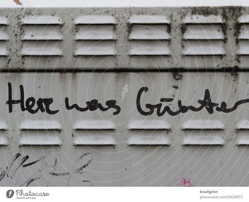 Here was Günter Graffiti auf einer Trafostation Kommunikation Schreibschrift Mitteilung Sprache Wort Buchstaben Typographie Text Schriftzeichen