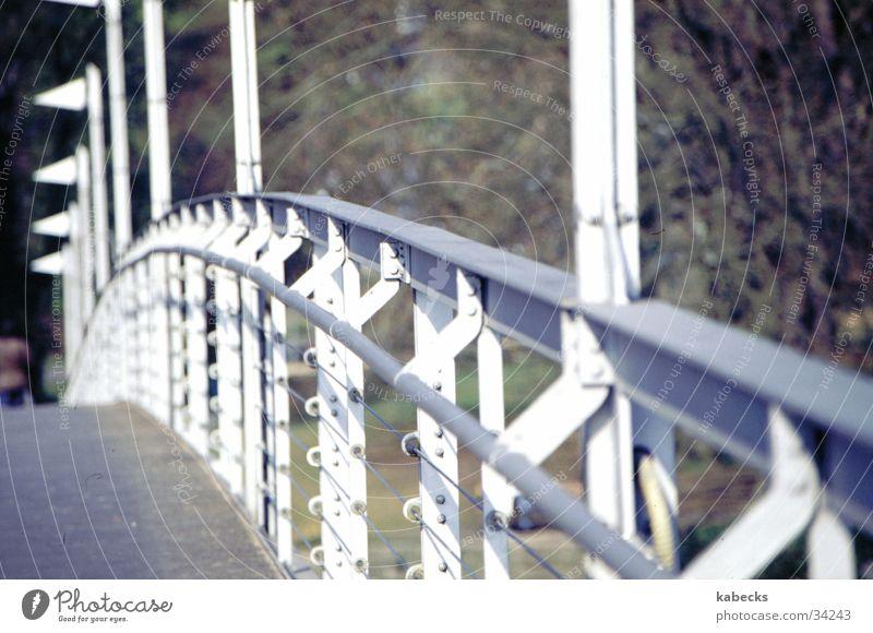 Fahrradbrücke Steg Brücke Wasser Verbindung Geländer Eisenkonstruktion