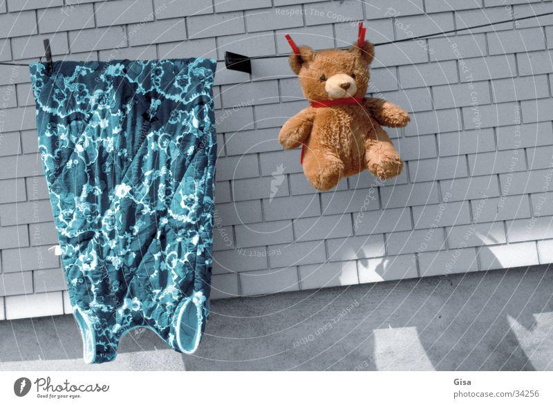 Waschtag Mauer Seil Häusliches Leben Sauberkeit Kleid Wäsche Bär Teddybär Stofftiere