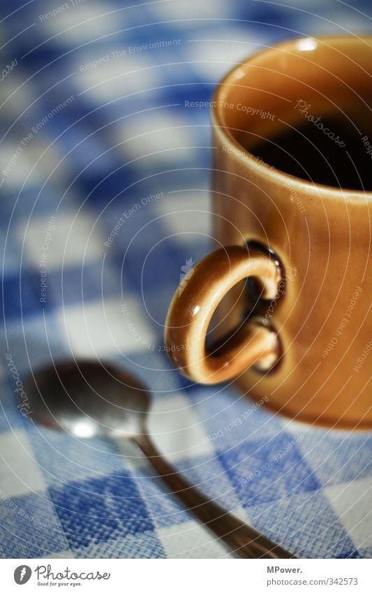 Pause machen blau Erholung Zeit braun Getränk Kaffee heiß Tee Tasse kariert Milch Löffel Espresso Kakao Latte Macchiato