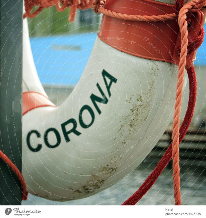 Detailaufnahme eines Rettungsrings für die Corona-Krise | corona thoughts Coronavirus Korona Virus Medizin Krankheit covid-19 Infektion Seuche Pandemie