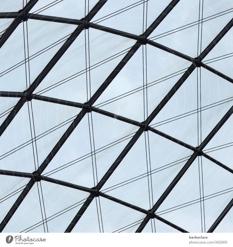 Baumaterial | Glas und Stahl Himmel Stuttgart Stadtzentrum Platz Bauwerk Architektur Fenster Dach Metall Linie Streifen Netzwerk hell hoch modern blau schwarz