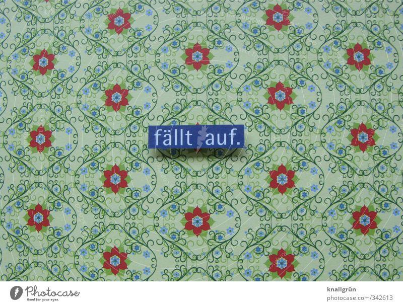 fällt auf. Tapete Tapetenmuster Schriftzeichen Ornament Schilder & Markierungen hässlich blau grün rot Gefühle Design Kitsch Muster geschmacklos Farbfoto
