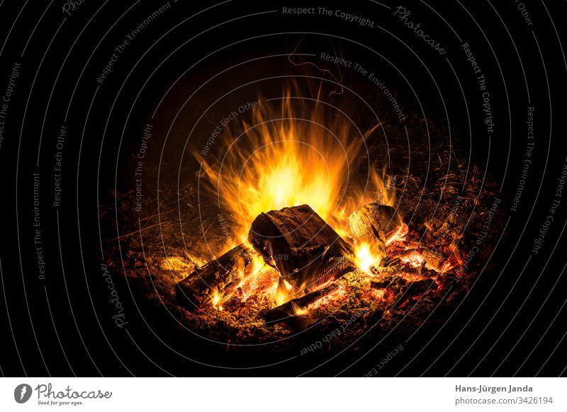 Hell brennendes Feuer mit Glut vor schwarzem Hintergrund Lagerfeuer Flamme Nachtfeuer Holz heiß wärmen Holzkohle Brand dunkel Feuerstelle feurig Außenaufnahme