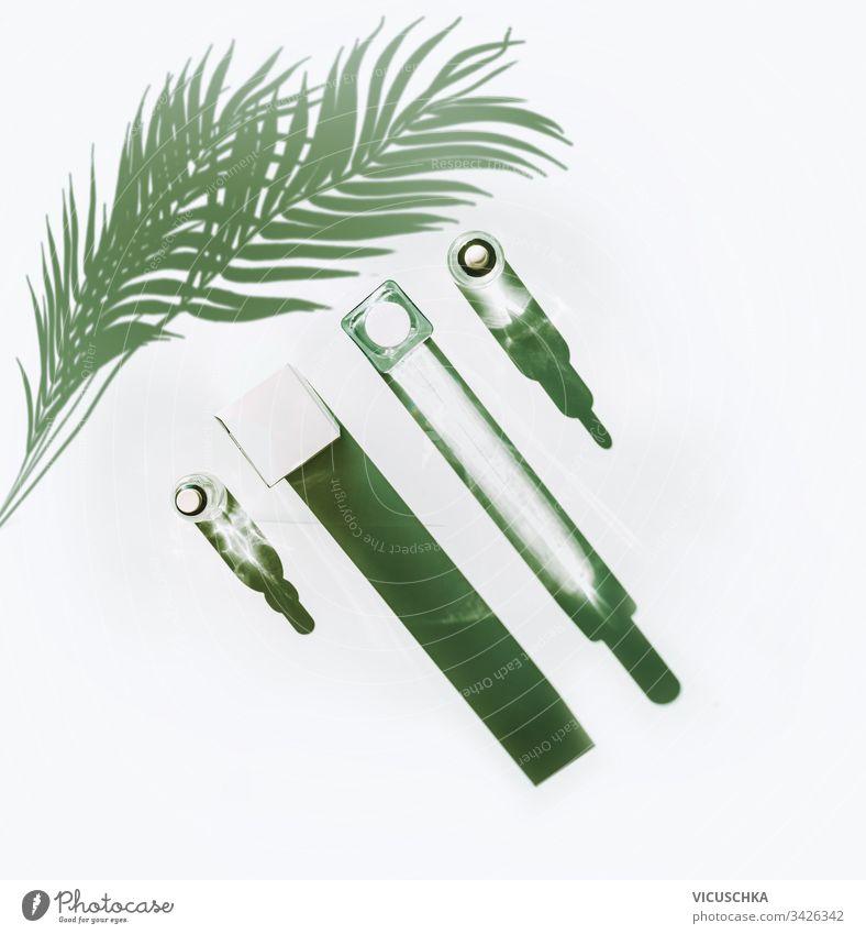 Anti-Aging-Kosmetikprodukte für die Gesichtshautpflege bei Sonnenlicht mit langem Schatten und Palmblättern auf weißem Hintergrund , Draufsicht. Naturkosmetik. Schönheitskonzept