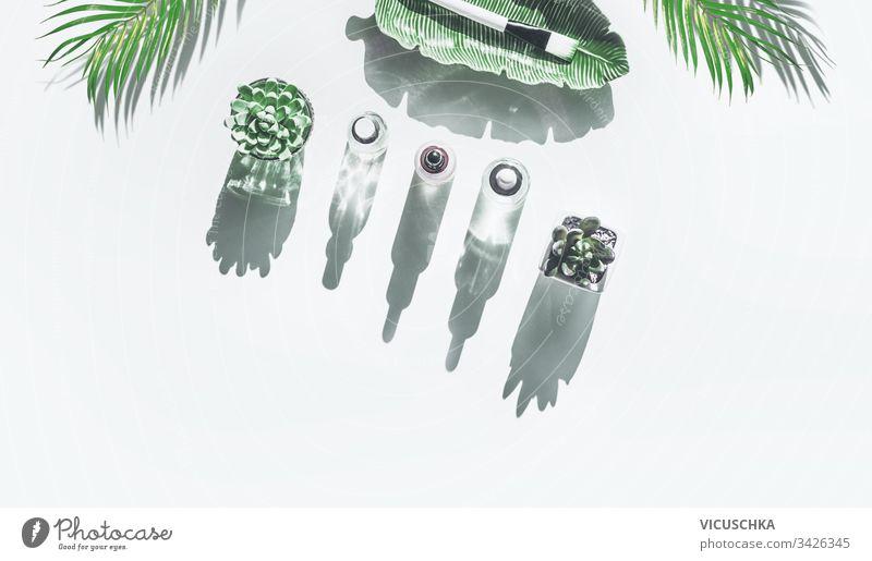 Grenze des modernen Gesichtspflegekonzepts. Verschiedene moderne Kosmetikproduktflaschen im Sonnenlicht mit langem Schatten und Palmblättern auf weißem Hintergrund , Draufsicht. Naturkosmetik. Schönheitskonzept