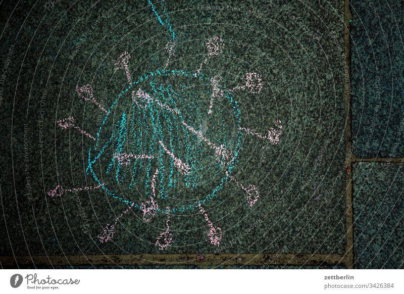 Corona corona gehweg gehwegplatte gesundheit illustration kinderzeichnung krankheit malerei pflaster pflastermalerei piktogramm virus wissenschaft SARS