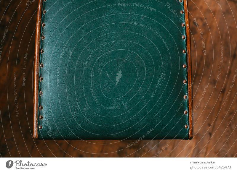 Vintage Lederstuhl Bezug Stuhl Beschlag Holz Stil