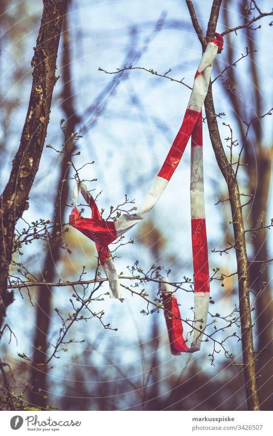 Forstwirtschaft Absperrung Baumfällung Fortswirtschaft Absperrband Gefahr Hinweis Vorsicht