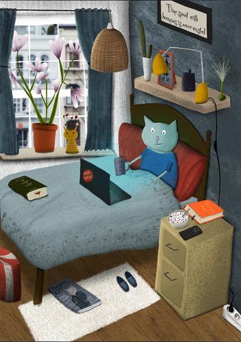 Illustrierte Katze sitzt im Bett und schaut auf ihren Laptop Illustration niedlich homeoffice zu Hause Tee Information drahtlos Kaffee Schlafzimmer Web