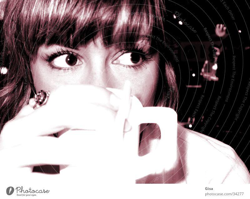 Kaffee Paulina Frau Hand schön Gesicht Auge Getränk Kaffee trinken Tasse