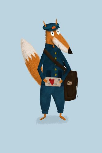 Illustrierter Fuchs als Postbote hät Liebesbrief in Hand Illustration niedlich Zeichnung für Kinder Grafik u. Illustration Kunst Textfreiraum blau Brief