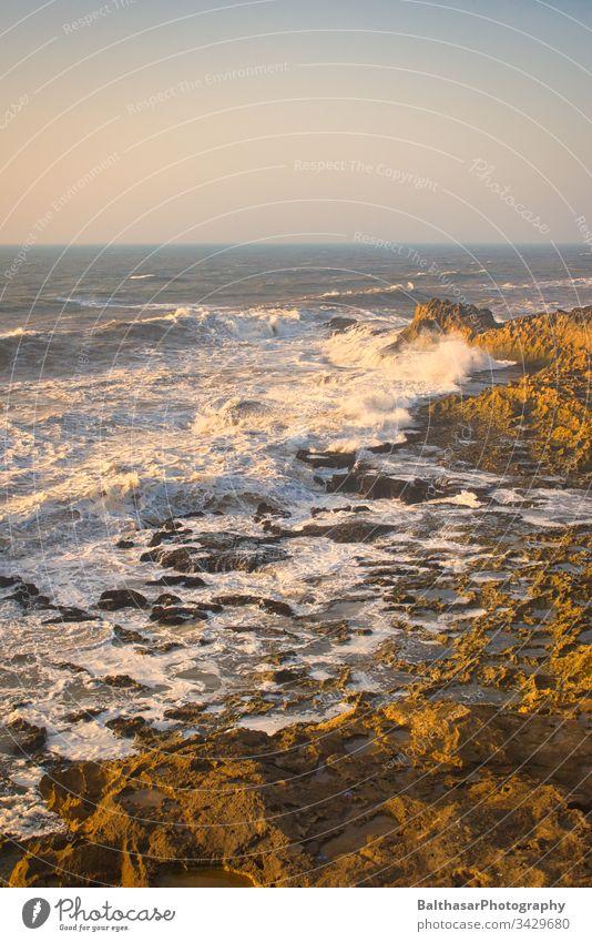 Nordatlantik - Küste - Wellen Atlantik Afrika Marokko Essaouira Schaum stürmisch gewaltig Natur Meer Horizont Felsen Atlantikküste Naturgewalt Sonnenuntergang