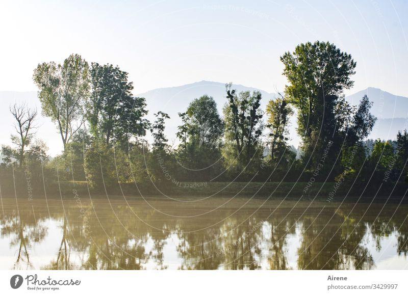 Der Wetterbericht kündigte für das Flusstal nach Nebelauflösung am Morgen einen sonnigen Tag an. Natur Seeufer ruhig Reflexion & Spiegelung Wasserspiegelung