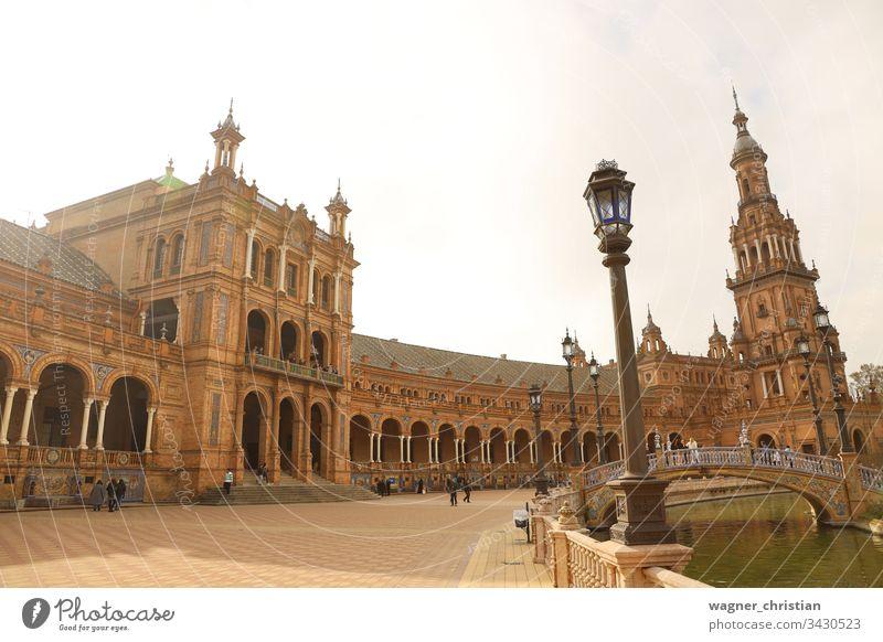 Plaza de Espana Plaza de España Sevilla Architektur historisch Andalusien Wahrzeichen Gebäude Europa Außenaufnahme Schatten Kultur Ferien & Urlaub & Reisen