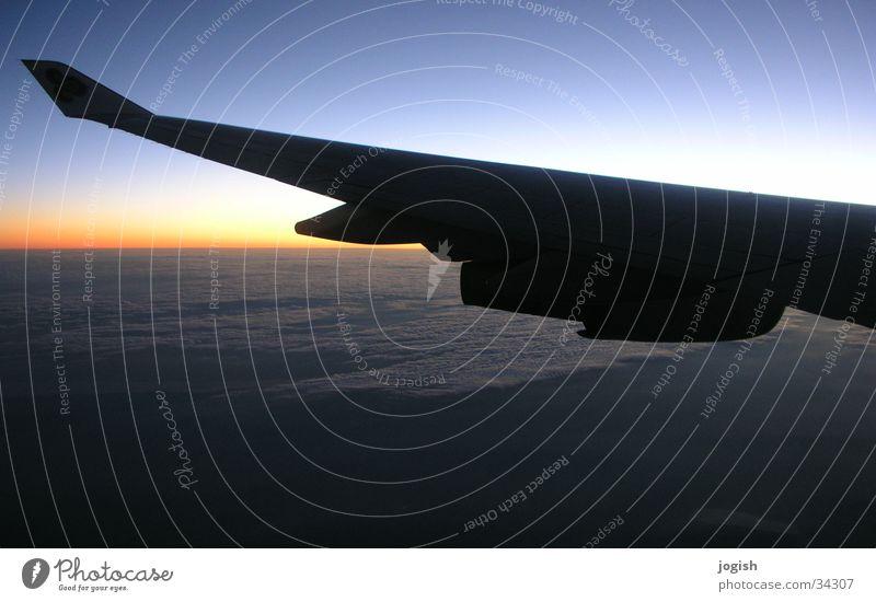 Nach draussen geguckt Tragfläche Horizont Wolken Verlauf Luftverkehr Sonne Himmel Landschaft Ferien & Urlaub & Reisen Blick blau orange