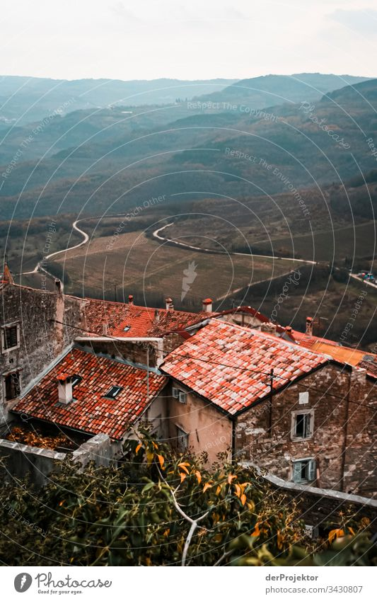 Motovun in Istrien dächer Textfreiraum rechts heruntergekommen verfallen Kontrast Schatten Licht Zentralperspektive Textfreiraum oben Textfreiraum links