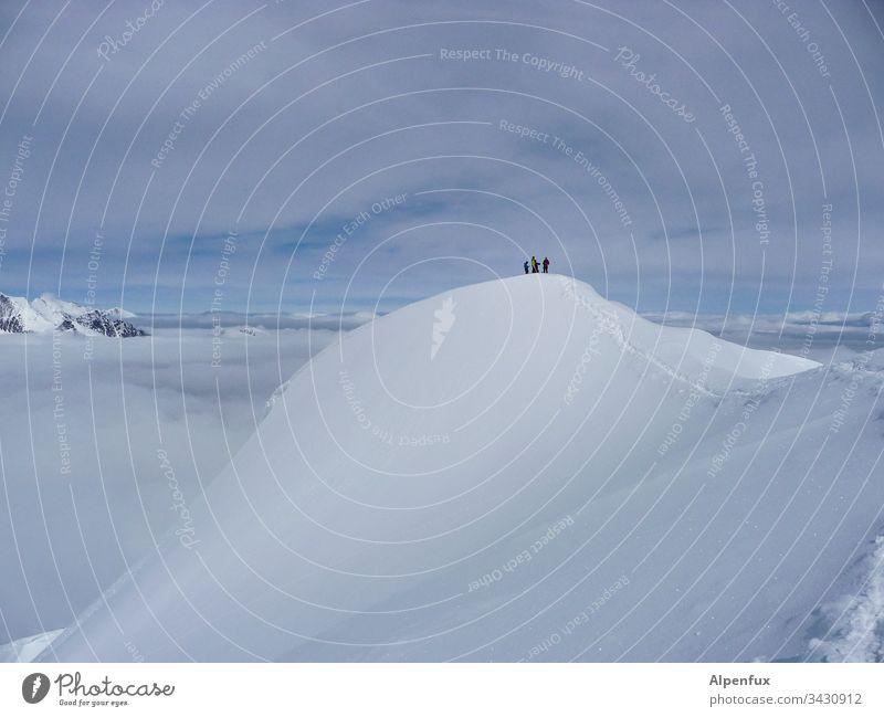 Seilschaft | Gipfeltreffen Gletscher Alpen Berge u. Gebirge Schnee Außenaufnahme Eis kalt Schneebedeckte Gipfel Natur Schönes Wetter Walliser Alpen Klimawandel
