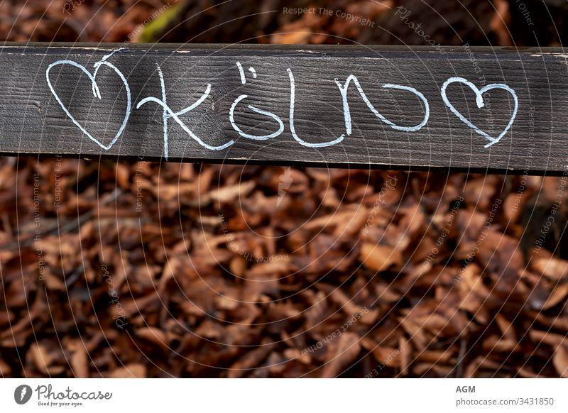 ich liebe Köln Text abstrakt Herbstlaub Hintergrund Bank Holzplatte gebrannte Orange Karneval Kreidezeichnungen Großstadt Textfreiraum kreativ Ausflugsziel