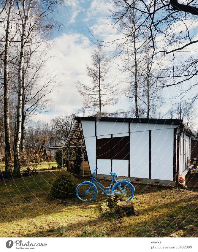 Blaues Fahrrad Bungalow Feriensiedlung Campingplatz Dauercamper Freizeit draußen Bäume Natur Entspannung Erholung Menschenleer Farbfoto Ferien & Urlaub & Reisen