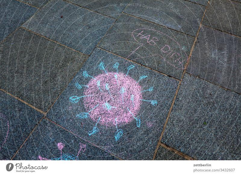 Coronavirus corona gehweg gehwegplatte gesundheit illustration kinderzeichnung krankheit malerei pflaster pflastermalerei piktogramm wissenschaft kreide