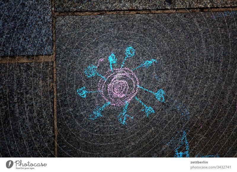 Corona corona gehweg gehwegplatte gesundheit illustration kinderzeichnung krankheit malerei pflaster pflastermalerei piktogramm virus wissenschaft labor