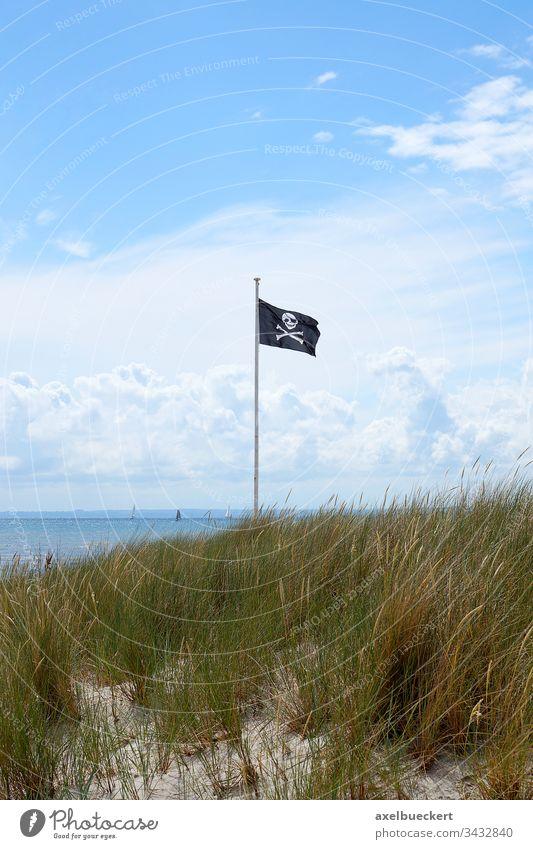 Piratenflagge piratenflagge totenkopfflagge fahne Ostsee Fahnenstange Fahnenmast schwarz Strand Meer sommer wasser Symbol wehen Wind Anarchie Piraterie Himmel