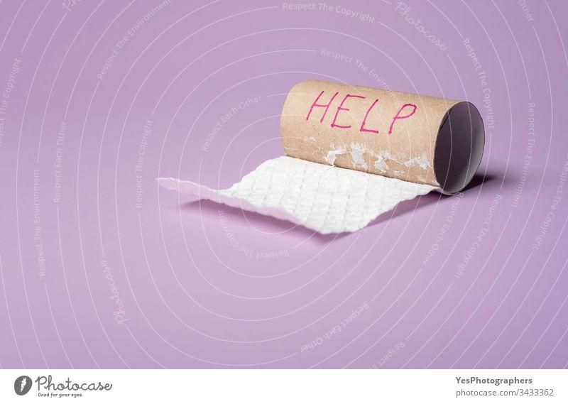 Toilettenpapier lustiges Konzept. Mangel an Tissuerollen 2020 Sauberkeit Obstipation Konsumverhalten Krise Defizit leer Seuche Lebensmittel weltweit