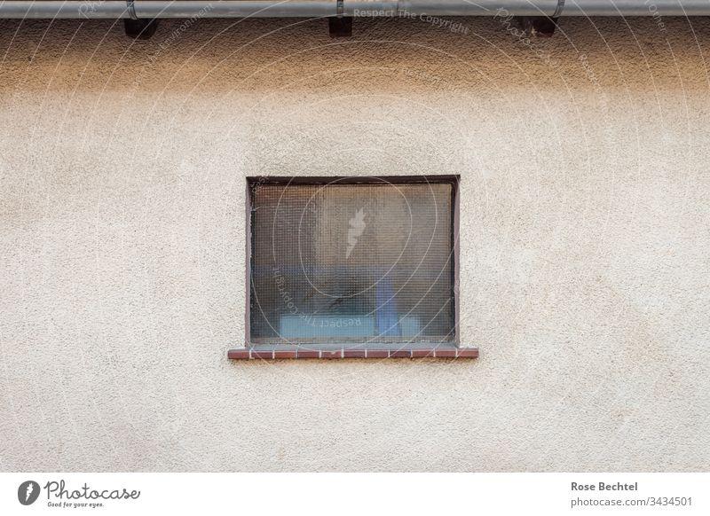 Hauswand mit Fenster Fassade beige braun zentriert