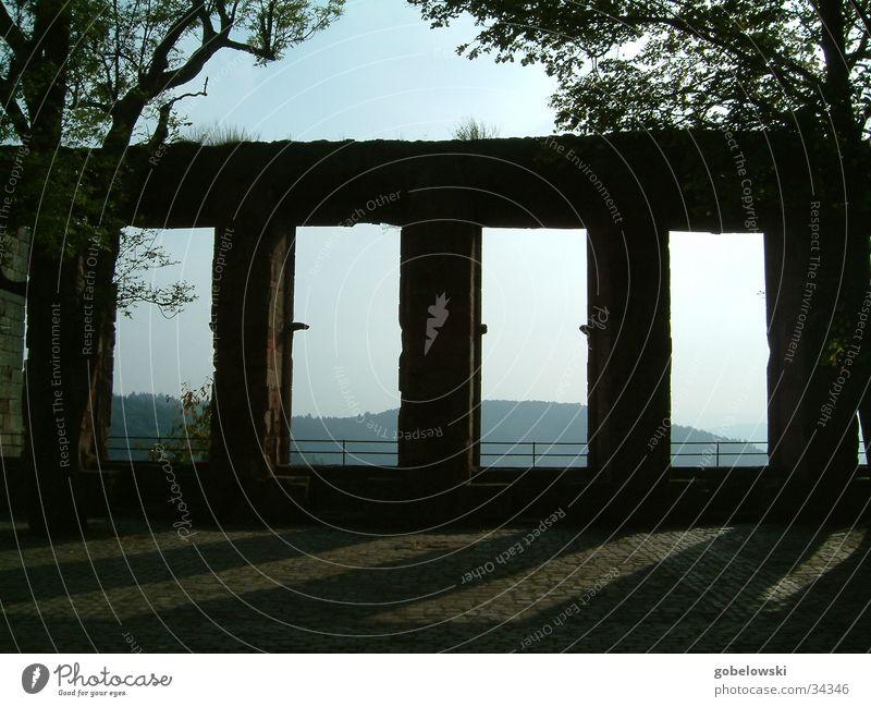Schattenspiele Baum Berge u. Gebirge Mauer historisch Gemäuer