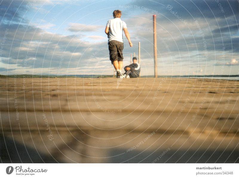 Schwedens Stege Mensch Wolken See laufen