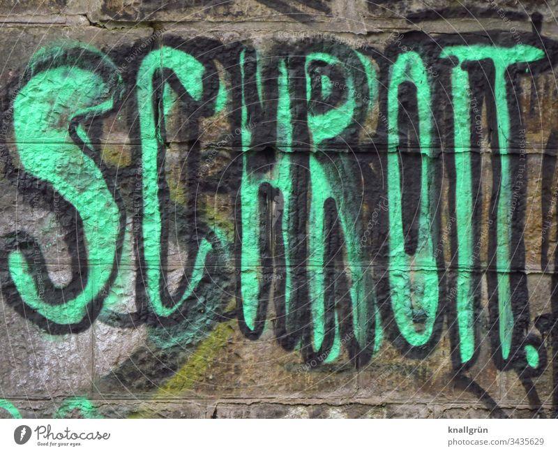 Das Wort Schrott als Graffiti an eine Mauer gesprayt Kommunizieren Schriftzeichen neongrün Buchstaben Typographie Zeichen Großbuchstabe Farbfoto Wand