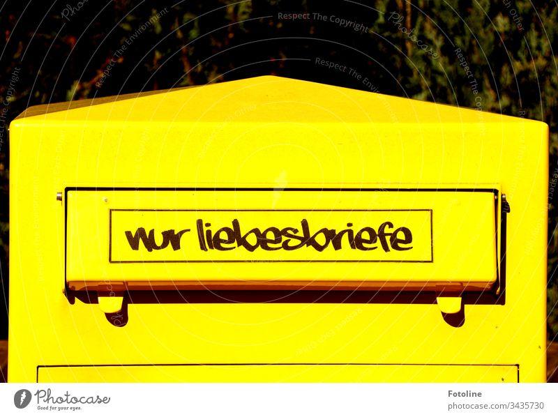 """Nur Liebesbriefe - oder ein Briefkasten an dessen Einwurfschlitz die Aufschrift """"Nur Liebesbriefe"""" steht Post Menschenleer Außenaufnahme Farbfoto Tag"""