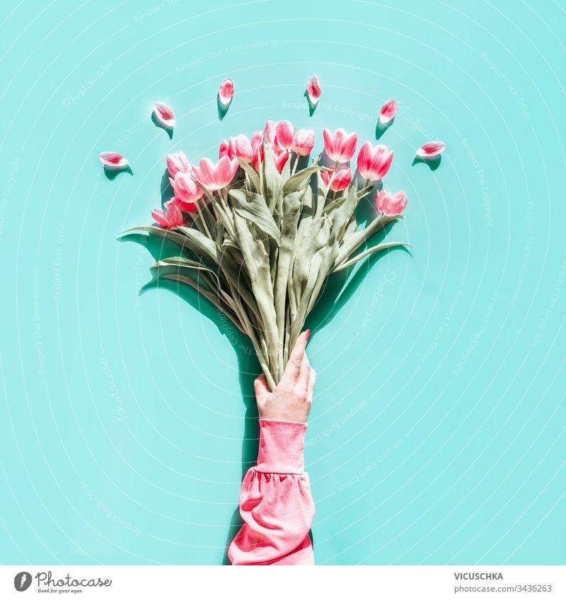 Weibliche Hand in rosa Bluse, die einen schönen Tulpenstrauß auf hell türkisem Hintergrund hält. Ansicht von oben. Flach liegend. Muttertagsgruß Frau