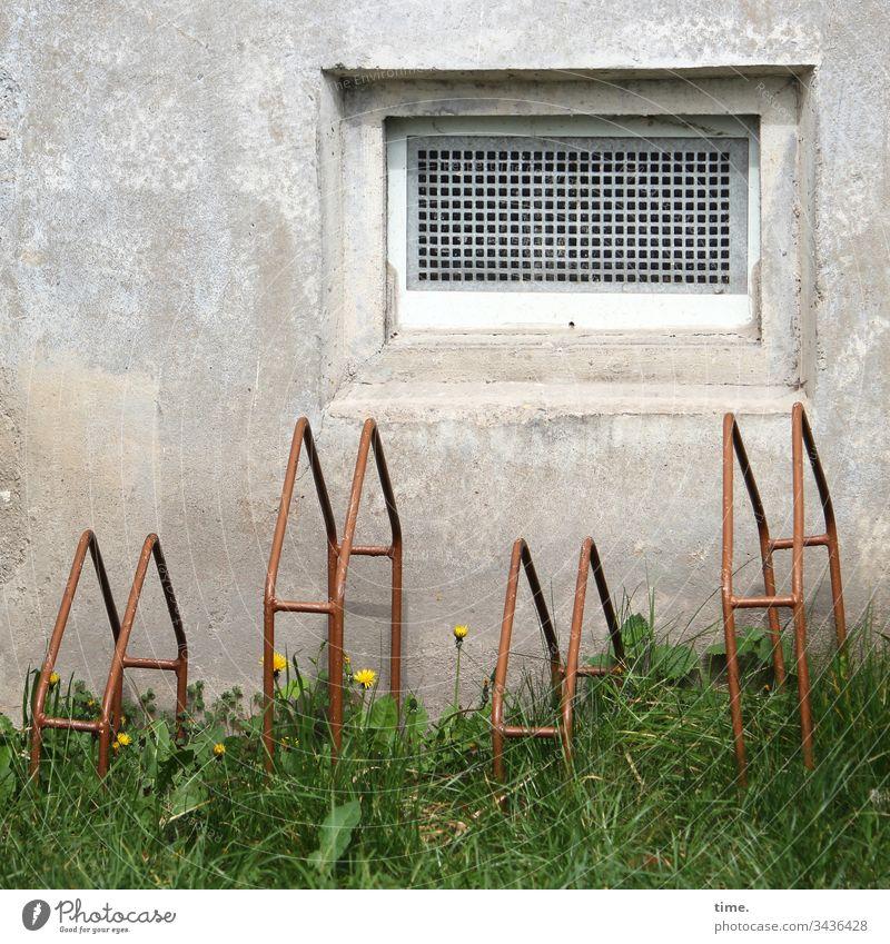 Design & Dasein fenster beton kellerfenster bauwerk lüftung fahrradständer wiese löwenzahn service abstellen parkplatz haus wand mauer metall stellvorrichtung