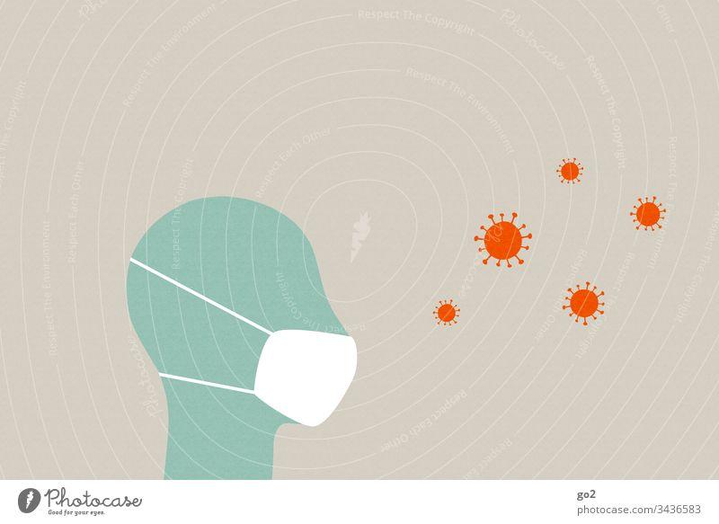 Kopf mit Mundschutz und Viren niesen ansteckend Ansteckungsgefahr Virus Krankheit Hygiene Infektion Gesundheitswesen Medizin Coronavirus Krankenhaus Seuche