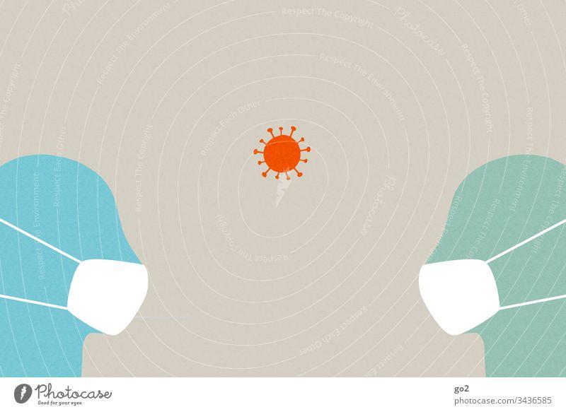 Zwei Köpfe mit Mundschutz niesen ansteckend Ansteckungsgefahr Virus Krankheit Hygiene Infektion Gesundheitswesen Medizin Coronavirus Krankenhaus Seuche Schutz