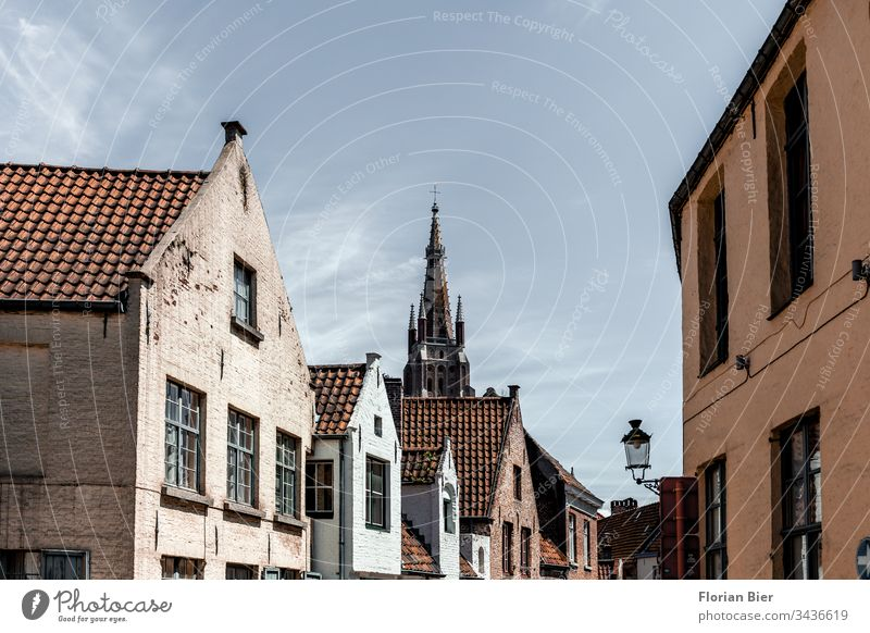 Wohnhäuser in der Altstadt von Brügge mit Blick auf die Liebfrauenkirche Haus Fenster Fassade Baustil Fensterscheibe Stadtzentrum Europa Architektur Gebäude
