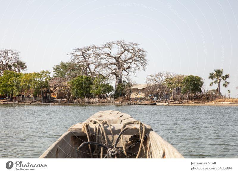 Blick aus hölzernem Fischerboot auf Inselufer in afrikanischer Landschaft Boot Piroge Einbaum Holzboot Schifffahrt fischfang fischen angeln Anker Bug Heck Seile