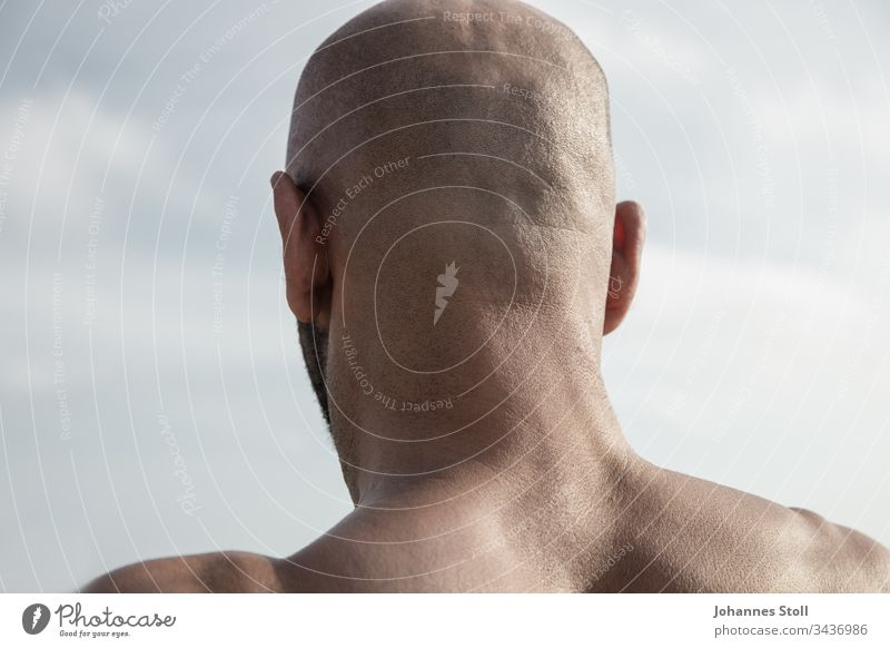 Männlicher Hinterkopf vor blauem Himmel in Rückansicht Glatze Mann männlich Haut Haare Bart Ohren Rücken Schulter Kopf Schädel Blick Meer Ausblick Rückenfigur